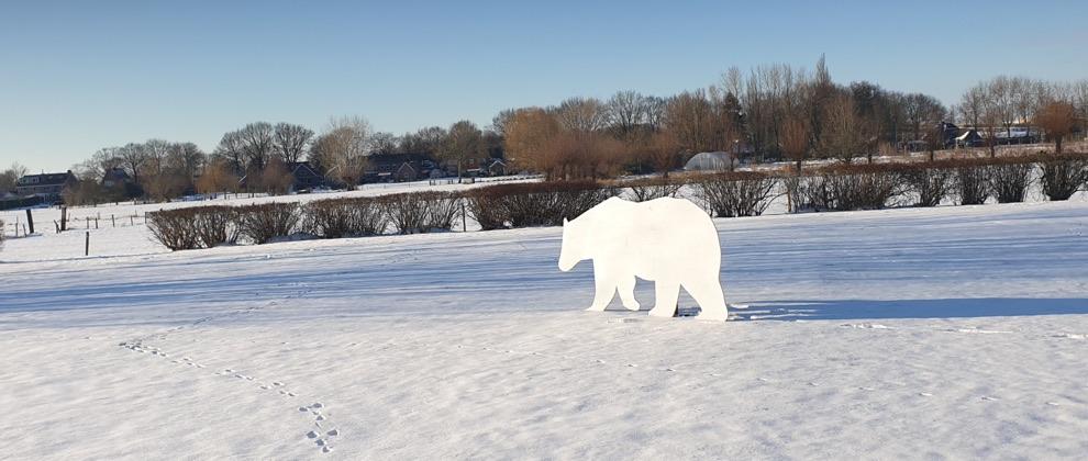 beer in de sneeuw